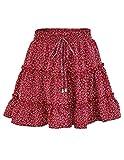 JENJON Mujer Falda Florales Mini Bohemio Corto Elástica Plisada Básica Multifuncional Patinador Cintura Alta Cordón Skirt Rojo XL