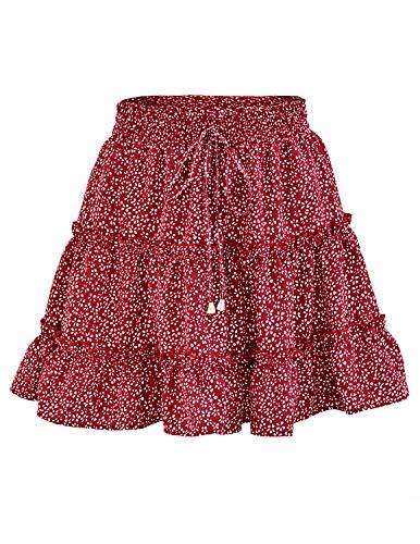 DISON Mujer Falda Florales Mini Bohemio Corto Elástica Plisada Básica Multifuncional Patinador Cintura Alta Cordón Skirt Rojo S