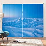ADKMC Cortinas Infantiles Azul Montaña Nevada Naturaleza Paisaje 280X180CM 3D...