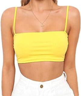 FSSE Womens Slim Crop Top Sleeveless Spaghetti Strap T-Shirt Blouse Tank Tops