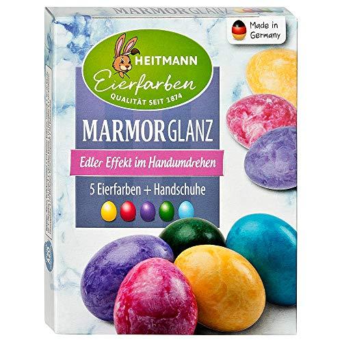 Heitmann Eierfarben Marmor-Glanz - 5 flüssige Kaltfarben - Marmorierfarbe - azofrei - Ostern - Ostereier bemalen, Ostereierfarbe