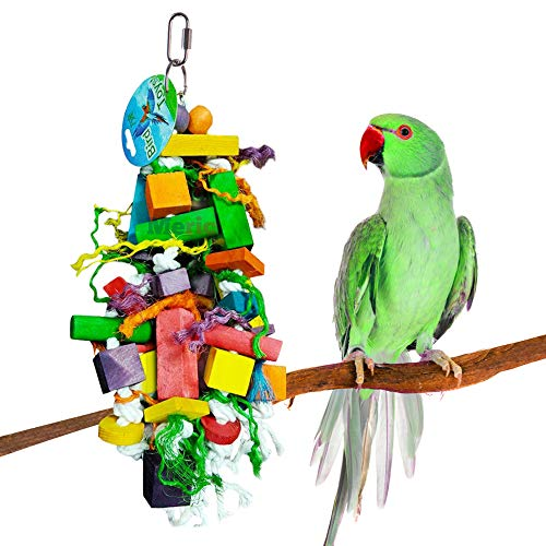 """Meric Bird Chew Toy, 15.7' x 4"""", Colorful Wooden Blocks and Ropes, for Cockatiel, Budgie, Indian Ringneck, Senegal Parrot and Other Birdies, 1-Piece per Pack"""