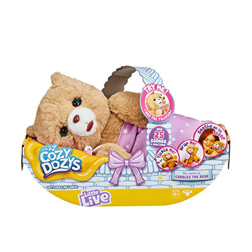 Little Live Pets Cozy Dozy Cubbles The Bear - Over 25 Sounds and Reactions | Bedtime Buddies, Blanket and Pacifier Included | Stuffed Animal, Best Nap Time, Interactive Teddy Bear
