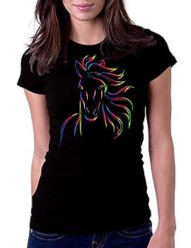 Horse Bold Color Art Design - Womens Tee T-Shirt XL Black