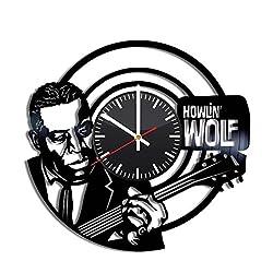 Howlin' Wolf Vinyl Clock - Howlin' Wolf Chester Burnett Blues Vinyl Records Wall Art Room Decor Handmade Decoration Party Supplies Theme - Best Original Present Gift Idea - Vintage and Modern Style
