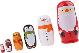 Tuoservo 6 STKS Set Nesting Pop Speelgoed Houten Russische Matroesjka Poppen Xmas Leuke Cartoon Dieren Patroon Kinderen Sp...