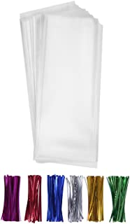 200 Clear Long Candy Cello Treat Bags 2x10 with 4