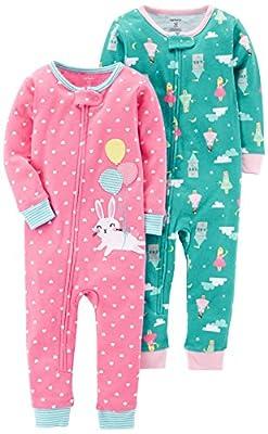 Carter's Baby Girls' 2-Pack Cotton Footless Pajamas
