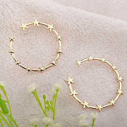 ZHQJY grote cirkel vijfpuntige ster oorbellen voor vrouwen meisjes chique Stud oorbellen voor partij nachtclub stickers