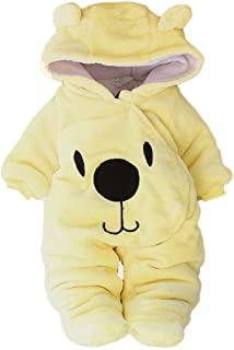 BeautyTop Baby Unisex Overall Baby Tier Strampler mit Kapuzen Baby Mädchen Outfits Set Baby Winter Warm Kleidungsset