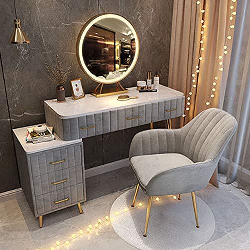 LIUSU-Walker Schlafzimmer Schminktische Mit LED-Lichtspiegel, Schlafzimmermöbel Set Moderner Make-Up-Tisch Mit Seitenschubladen Und Gepolstertem Hocker,Grau