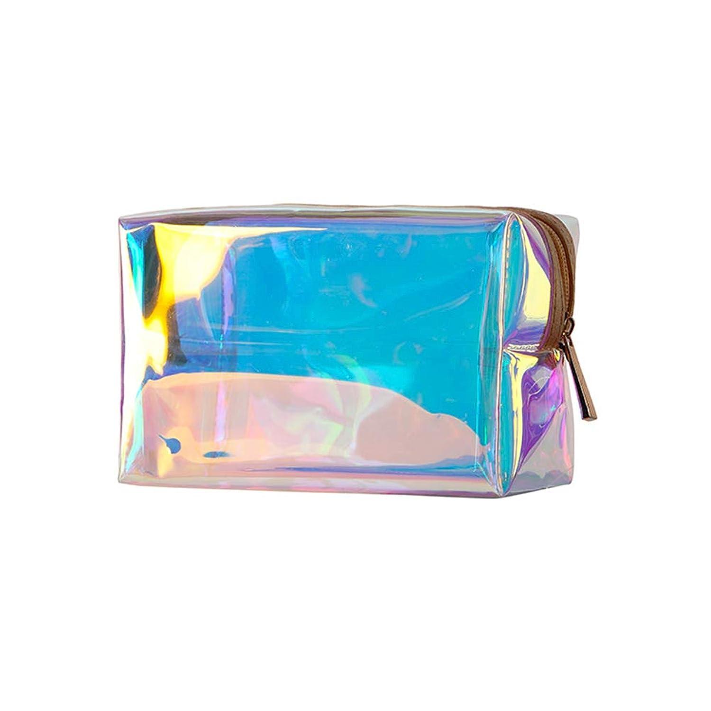 Frcolor メイクブラシポーチ 化粧筆ケース 化粧ポーチ 美容師 化粧ブラシポーチ TPU レーザー 正方形 多彩 化粧品袋 防水 透明 収納袋
