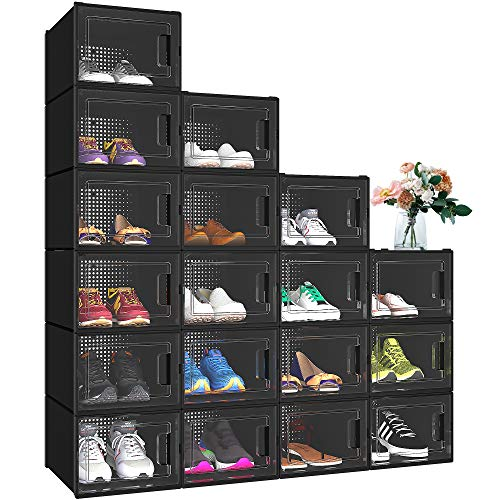 YITAHOME Shoe Box Storage, Set of 18 Medium Size Shoe Storage Organizers Stackable Shoe Storage Box Rack Containers - Black