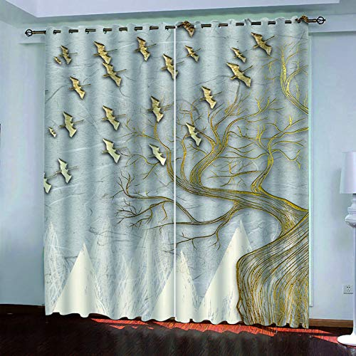 YUNSW 3D Rabbit Rainbow Curtains, Used For Soundproofing And Blackout Curtains In Living Room, Bedroom, Kitchen And Garden, Two-Piece Perforated Curtain