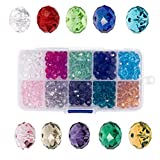 wood badge beads - Bingcute 6mm Wholesale Briolette Crystal Glass Beads Finding Spacer Beads Faceted #5040 Briollete Rondelle Shape Assorted Colors with Container Box (500pcs)