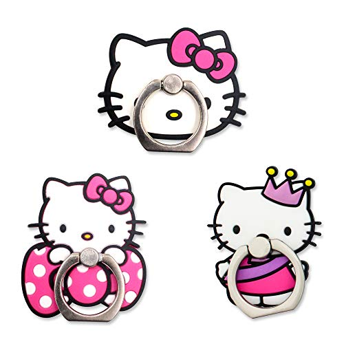 Finex Set von 3 Cartoon-Charakteren 2-in-1 Handy Handy Smartphone Kickstand Finger Ring Halter Ständer Griff für iPhone Samsung Android, Small, Weiß (Hello Kitty)