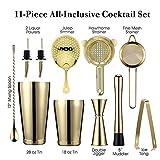 11 Piezas Kit Cocteleria Profesional Juego de Coctelería Acero Inoxidable Cocteleras de Cóctel Set Kit para Hacer Cócteles Ideal para Hogar Bar Mezclar Bebidas (Golden)