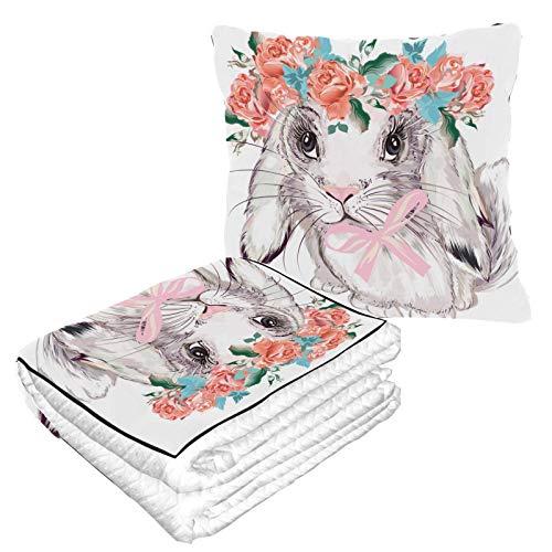 Elegante conejo pequeño almohada de viaje con manta interior cálida suave 2 en 1 combo de almohada de viaje para camping, viajes en coche, avión, manta de viaje para cualquier viaje