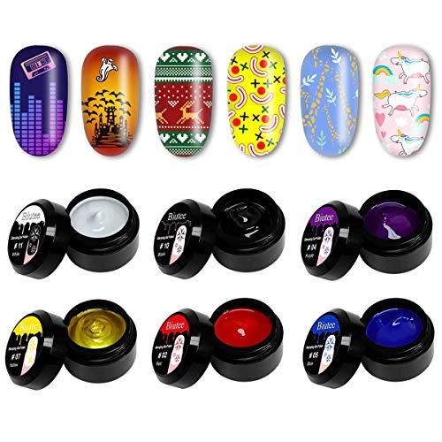 Biutee Gel de Estamping 6 cajas Esmalte para Stamping de 8ml Sellar en Lampara Color de Negro,Blanco,Dorado,Azul,Rojo y Violeta