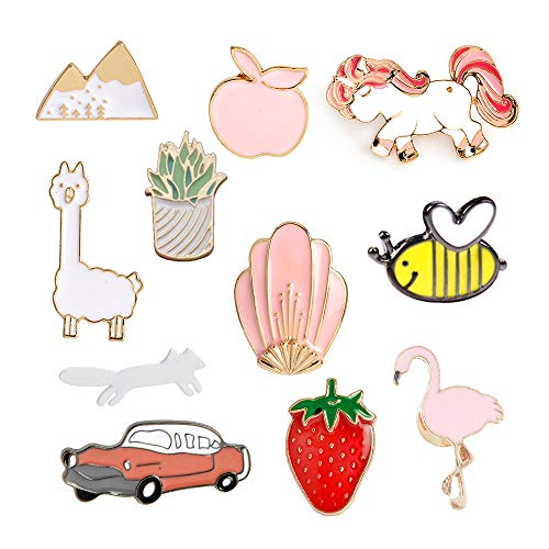 MJartoria Car Flamingo Alpaca Novelty Cartoon Enamel Brooch Pins for Backpacks Set of 11 (car)