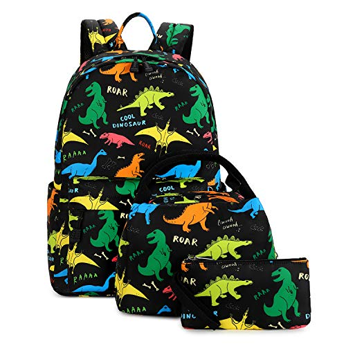 Ecodudo Cute Lightweight Dinosaur Backpacks Boys School Bags Kids Bookbags with Lunch Bag (Colorful Dinosaur Set)