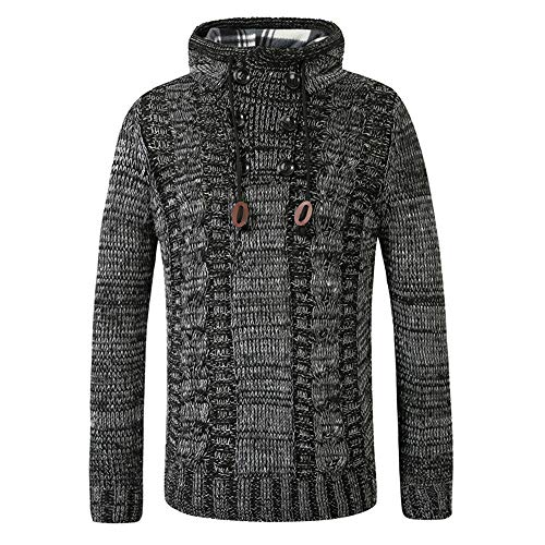 Chunmei Men's Pullover Hoodie Knitted Sweater Slim fit Long Sleeve Sweater Sweatshirt Pullover Men Autumn Winter New Hooded Sports top with Drawstring Fashion Warm Breathable top XL