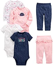 Simple Joys by Carter's Baby Girls' 6-Piece Little Character Set, Pink/Navy Ruffle, 12 Months
