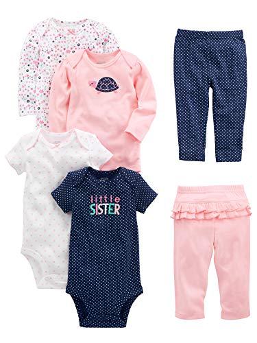Simple Joys by Carter's Conjunto de 6 piezas de body para niñas (manga corta y larga) y pantalones ,Pink/Navy Ruffle ,3-6 Meses
