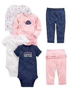 Simple Joys by Carter's Conjunto de 6 piezas de body para niñas (manga corta y larga) y pantalones ,Pink/Navy Ruffle ,0-3 Meses