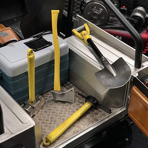 ExhilaraZ 4Pcs Metal Mini Shovel Hammer Axe Pickaxe Tool for 1/10 RC Car TRX4 SCX10 D90 Survival Off-Roading Tool Kit for Camping, Hiking, Backpacking, Adventure Fixed Bracket Random Color