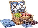 Picnic Basket for 4 Person | Picnic Hamper Set | Folding Picnic Blanket | Picnic Table Set | Picnic Plates | Picnic Supplies | Summer Picnic Kit | Picnic Utensils | Picnic Cutlery Set Flatware Set