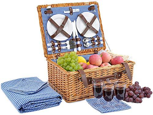New Picnic Basket for 4 Person | Picnic Hamper Set | Folding Picnic Blanket | Picnic Table Set | Pic...