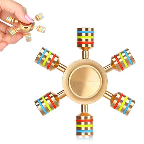 AUKWING 6 Point Hexagon Fidget Hand Spinner Toys Solid Brass R188...
