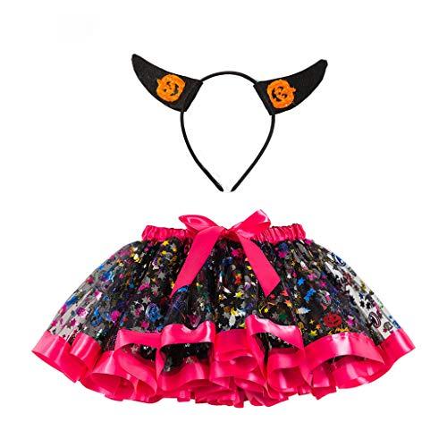 Yanhoo Kinder Mädchen Ballettröckchen Halloween Party Dance Ballett Kleinkind Baby Kostüm Rock Haarband (2Y 11Y) Cartoon Pailletten Mesh Tutu Pettiskirt Stirnband Zweiteilige Anzug(Pink,M)
