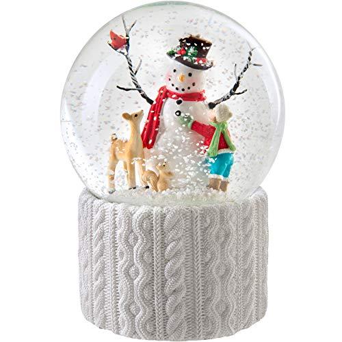 WeRChristmas Schneekugel Schneemann mit Musik, Weihnachtsdekoration, Mehrfarbig, 16 cm