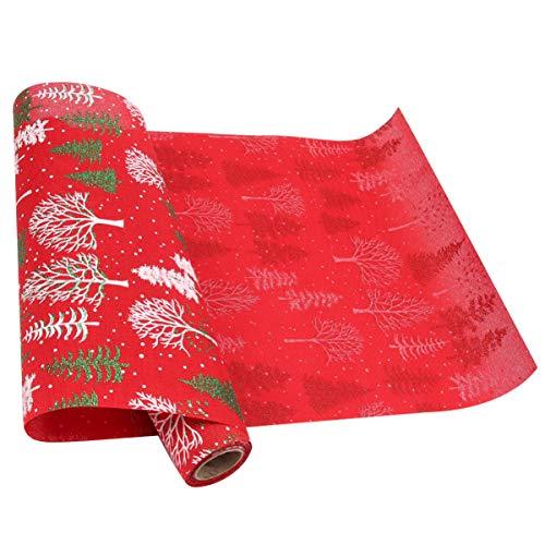 VALICLUD Camino de Mesa Decorativo de Navidad Árbol de Navidad Mantel de Copo de Nieve Mantel para Decoración de Mesa Festiva