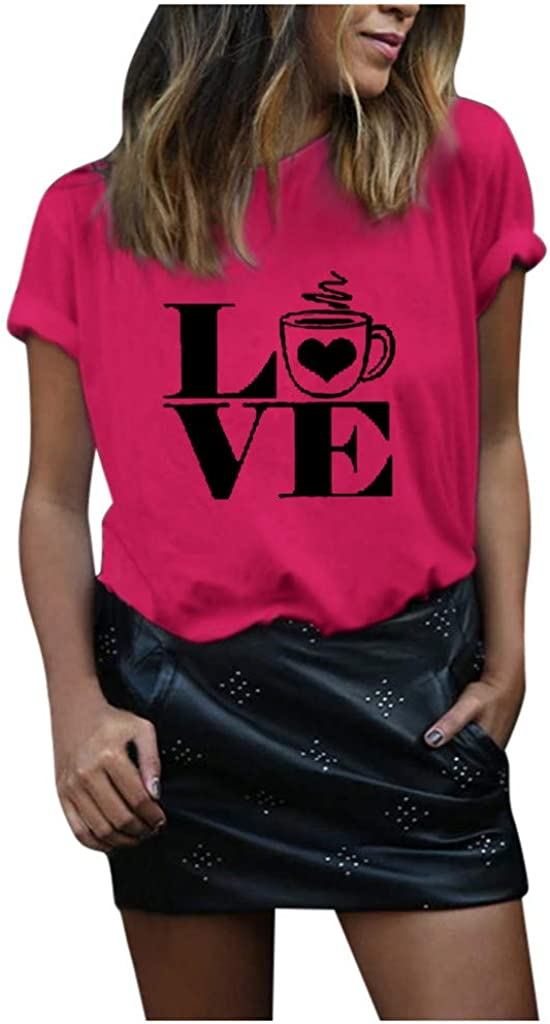 FEISI22 2020 New Womens Valentines Day Graphic Tees Short Sleeve Heart Printed Shirts Blouse Tops Plaid Leopard T-Shirt