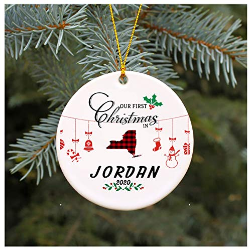 Christmas Tree Ornament 2020 Our First Christmas In Jordan New York 1st Christmas In Our New House Rustic Xmas Decorations Gift For Family Present Idea 3' MDF Plastic