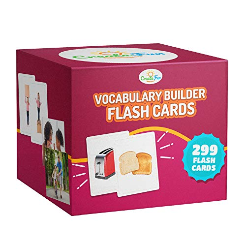 Vocabulary Builder Flash Cards - 299 Educational Photo Cards - Emotions, Go Togethers, Nouns, Opposites, Prepositions, Verbs - Speech Therapy Materials, ESL Teaching Materials +7 Learning Games