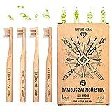 Nature Nerds - kleine Bambus-Zahnbürsten für Kinder (4er Pack) / aus nachhaltig angebautem Bambus/Vegan/BPA-frei