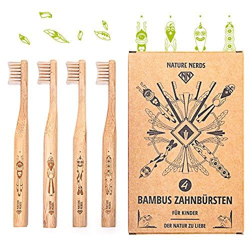 Nature Nerds - kleine bamboe tandenborstels voor kinderen in een set (pak van 4) / hardheid: zacht / gemaakt van duurzaam geteeld bamboe / veganistisch / BPA-vrij