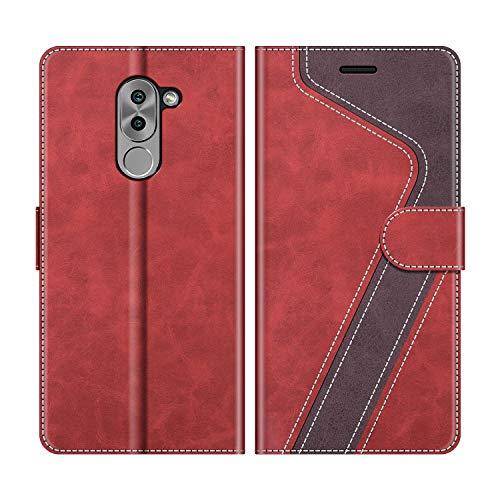 MOBESV Handyhülle für Honor 6X Hülle Leder, Honor 6X Klapphülle Handytasche Case für Honor 6X Handy Hüllen, Rot