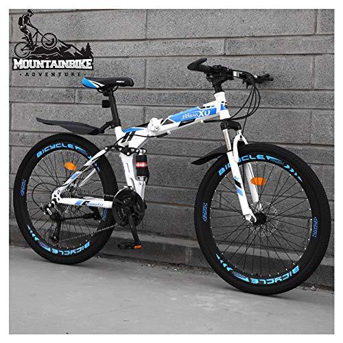 NENGGE Bicicleta Montaña Doble Suspensión 26 Pulgadas para Adulto Hombre y Mujer, 21/24/27 Velocidades Plegable Bicicleta BTT con Freno Disco, Marco Acero Alto Carbono MTB,Blue Spoke,24 Speed