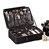 ROWNYEON Travel Makeup Bag Cosmetic Makeup Train Case Artist Makeup Organizer Professional Portable Storage Bag for Women Girl Waterproof EVA Adjustable Dividers 16.1' Large Black