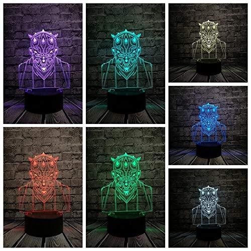 Nueva Star Wars Darth Maul Vassal Jedi Knight Figura Lámpara Multicolor 3D Visual Touch USB Led Dormitorio Luz de noche Mood lampara Juguete