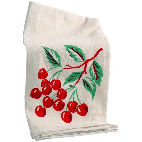 Serviette de cuisine rouge et blanc avec motif cerises