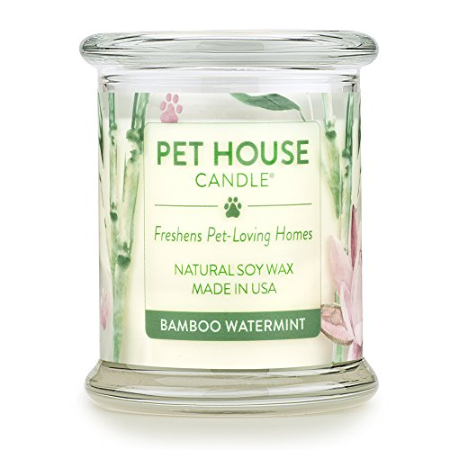 One Fur All - 100% Natural Soy Wax Candle, 20 Fragrances - Pet Odor Eliminator, Up To 60 Hours Burn Time, Non-toxic, Reusable Glass Jar Scented Candles  Pet House Candle, Bamboo Watermint