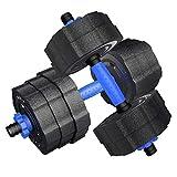 WYH Pesas 10 kg * 2 Mancuernas de Goma Desmontable de Bell de Mano con Barra Conjunto Equipo casero del Ejercicio de Fitness + Biela Musculación