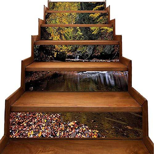 Stair Stickers Decals Waterfall Brandywine Creek National Park Ohio Autumn Fallen Leaves Yellow Green Redwood Stair Riser backsplash Refurbished Stair Treads, W39.3 x H7 inch