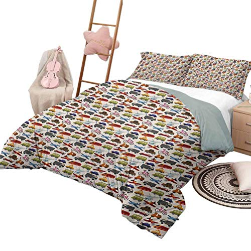 Daybed Quilt Set Boys Room Custom Bedding Machine Washable Planes Bikes Cars Trucks Train Taxi Motorcycle Bus Crane Engine Cartoon Art Full Size Multicolor